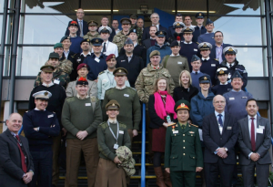 Students and staff from ACSC on the steps of Saab Seaeye.