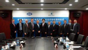 Wärtsilä and CSSC to establish new E&A joint venture in China. Jaakko Eskola, CEO of Wärtsilä and Wu Qiang, President of CSSC in the middle.