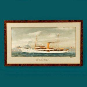 Gouache of Royal Yacht Squadron steam yacht Sapphire, 1893. CourtesyAnderson Wallrock.