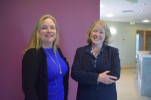 New BDA Board of Directors Chair Kiernan Bell, left, with outgoing Chair Caroline Foulger