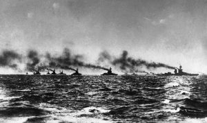 British ships sailing for Jutland from Scapa Flow