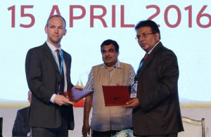 The Institute's Sean Walsh and IMU Vice Chancellor K Ashok Vardhan Shetty signed the MoU in the presence of India's Minister of Road Transport and Shipping Nitin Gadkari