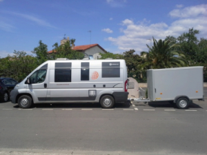 The Jifmar camper vehicle that serves as a complete Falcon base station, ready to head for the French Alps.