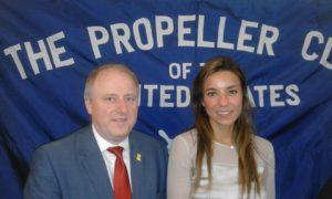 The President of the Propeller Club Cdr Ian Millen, RN, with Ana Delgado