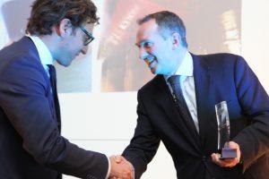 I-Tech Managing Director Philip Chaabane (left) receives the European Marine Engineering Award for Selektope® from IACS Secretary General Robert Ashdown