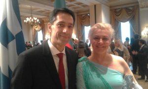 H.E. Rachman Mustafayev, the Ambassador of the Republic of Azerbaijan having just greeted Mrs. Demetra C. Moutzouris