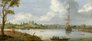 Greenwich Palace from the North East with a Man-of-War. c 1630, Netherlandish School. Copyright National Maritime Museum.