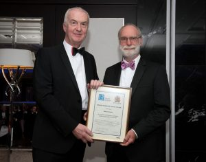 Tom Boardley, Executive Vice President and Global Head of Corporate and External Affairs at Lloyd's Register, (and the next President of RINA) presenting an award to Barry Deakin.