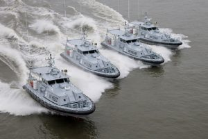 The four Damen Stan Patrol 1605 boats in a unique display