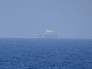 """From the bridge of the M/V """"Oceanus""""; hte SAR area with passing by ships"""