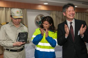 Marseille Fos CEO Christine Cabau Woehrel presenting a commemorative plaque to Ever Living master Capt. Yang Yun-Sin