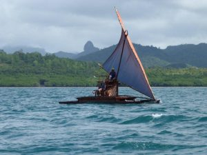 Canoe takes to the water. Photo Steven Hooper, courtesy Fiji: Art and Lifein the Pacific at Sainsbury Centre for Visual Arts, Norwich.