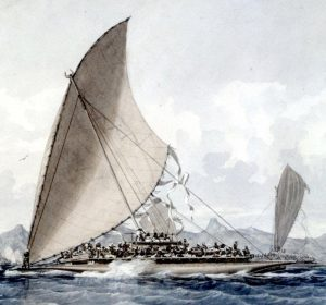 Fijian War Canoe (detail) 1856. Watercolour. By James Glen Wilson. PrivateCollection.