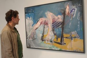 Christos Tsimaris with his work Woman in Deckchair.