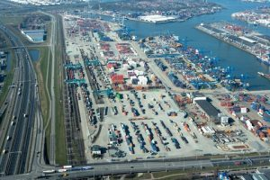 Modalities rail, road, water Port of Rotterdam - picture by Aeroview