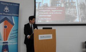 Luke Pearce delivering his speech