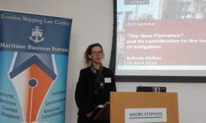 Belinda MacRae at the podium