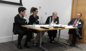 The Rt Hon Lord Justice Tomlinson (third from hte left) summing-up the event; to his left are Luke Pearce and Belinda McRae and to his right  Peter Daniel