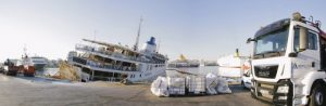 """The  """"Panagia Tinou"""" and antipollution protective products from ANTIPOLLUTION SA on the pier ready to be deployed"""