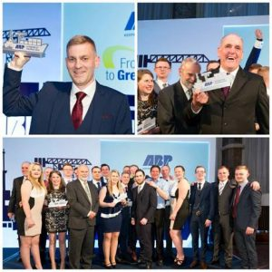Kurt Jensen, Steve Archer and ABP Humber shortlisted nominees and prizewinners celebrate their success at the company's first Apprentice Awards (image courtesy of ABP)
