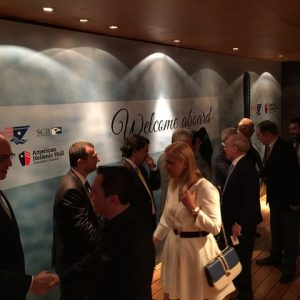 Lined up welcoming guests, the all American  - Greek team with (from the rigt): Arnold Witte, chairman of the board, Vincent J. Solarino, Dorothea Ioannou, Joe Hughes, George Alexndratos, Elias Tsakiris and ilias Bobolos