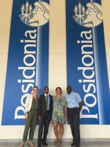 Team Bermuda at Posidonia 2016 in Athens, Greece. From left, the BDA's Nicole Conrad Morrison, Kevin Richards and Sophie Burt, with Bermuda's Registrar of Shipping Edward Robinson
