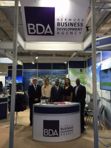 Our booth in the Metropolitan Expo, Athens, with, from left, Senior Marine Surveyor Chris Boreham, BDA's Nicole Conrad Morrison, Kevin Richards and Sophie Burt, and Edward Robinson of the Department of Maritime Administration (DMA)