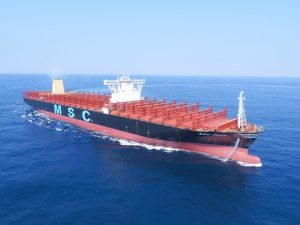 The MSC Jade pictured during sea trials (courtesy MSC)