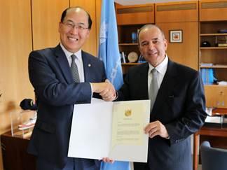 Ambassador of Peru to the United Kingdom, H.E. Mr. Claudio de la Puente Ribeyro, met IMO Secretary-General Kitack Lim at IMO HQ