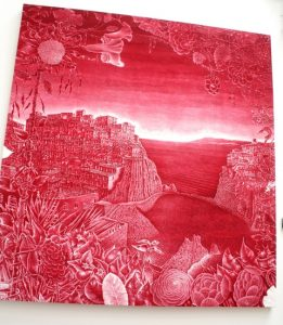 Cinque Terre with Runner Beans. Vinyl matt emulsion. By Gary Lawrence.