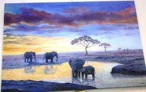 Waterhole. Oil painting by Daniele Mandelli.