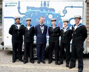 The Lord Mayor was joined by Sea Cadets at the launch of the 'Marine Engineering Pathway' project at Seafarers UK's Annual Meeting in Mansion House on 15 June.