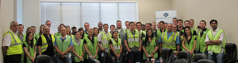 GAC and Pacific Drilling staff gather at an open house to showcase the new centralized warehouse in Houston.