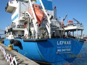 MT LEFKAS docked at Berth 100.