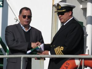 : Nelson Mandela Bay Executive Mayor Danie Jordaan (left) and Port of Port Elizabeth Harbour Master, Captain Brynn Adamson during the ceremony.