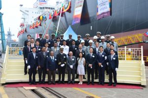 The Unique Shipping Group christened its new DNV GL-classed vessel Oriental Jubilee in Ulsan, Korea recently. It is the first vessel to receive the DNV GL SCRUBBER READY notation. Credit: Unique Shipping Group
