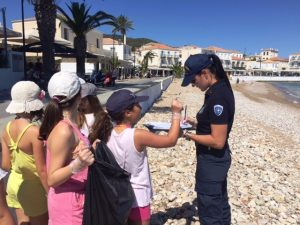 Coastal cleanup at Agios Mamas of Spetses organized by the Port Authority of Spetses, with the assistance of pupils from the Primary School of Spetses