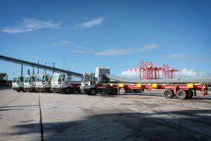 The fleet of YT222 tractors and Seacom 70 tonne trailers