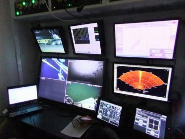Inside the custom-built control cabin.