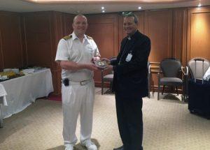 Vatican Maritime Bishop, Bishop Joseph Kalathiparambil presents the Apostleship of the Sea crest to mv Azura master Captain Derek Gray