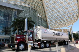 Crowley's LNG ISO tanks in front of the Puerto Rico convention center