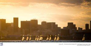 Sunset 49er sailing.