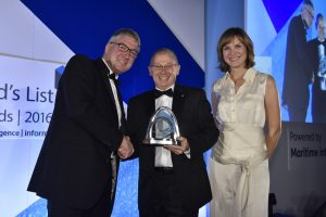 l to r: Simon Mullet, Chief Financial Officer, HPH, sponsor of the HPH Environment Award, Neil Godfrey, Marketing Manager, Shipping Services, GAC UK and Fiona Bruce, hosting the evening