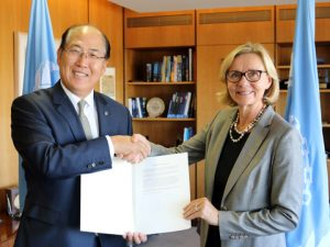 H.E. Mrs. Päivi Luostarinen Ambassador Extraordinary and Plenipotentiary, Permanent Representative of Finland to IMO, handed over the country's instrument of acceptance to the Ballast Water Management Convention to IMO Secretary-General Lim