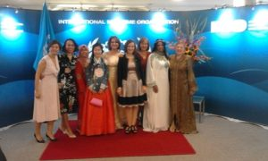 What a colourful picture that was with ladies from various IMO nations in national costumes!
