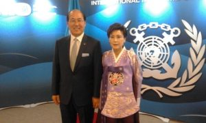 IMO's Secretary-General Kitack Lim and his wife ready to greet incoming guests