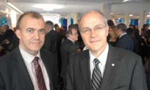 The new Greek Ambassador to the Court of St. James Dimitrios Caramitsos-Tziras and to his left the Greek Shipping Attache Captain HCG Demosthenes Botis