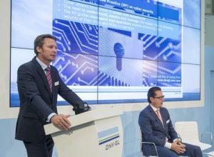 Knut Ørbeck-Nilssen, CEO of DNV GL – Maritime speaking at the DNV GL press conference at SMM