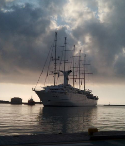 """The """"Club Med 2"""" entering the Port of Chios"""