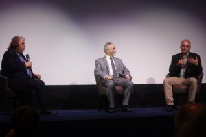 Phillip Bergson (left) chairs Q&A with Lawrence Russo and Larry Confino.